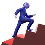 Cool 3d businessman icon climbing the stairs. Cool 3d businessman icon climbing the success stairs of career Stock Photography