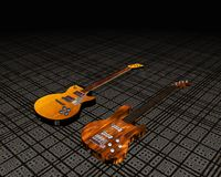 Cool 3D guitar. On black white stripes Royalty Free Stock Images