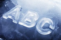 Cool ABC. ABC made with real ice letters on ice royalty free stock photos