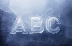 Cool ABC. ABC made of real ice letters stock image