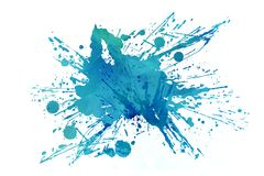 Cool Abstract Aqua Splash. Isolated on White Background. Blue Dirty Paint Splash Backdrop Element vector illustration
