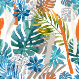 Cool abstract painting. Modern watercolor illustration. With tropical leaves, grunge, marbling textures, rough brush strokes, doodles, minimal elements Stock Photo