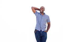 Cool african man smiling against white background Royalty Free Stock Image