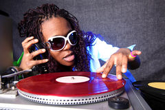 Cool afro american DJ royalty free stock images