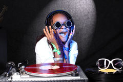 Cool afro american DJ Royalty Free Stock Image
