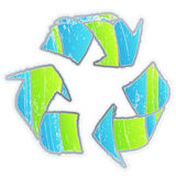 Cool aged recycle symbol. Vector illustration of an aged recycle symbol with funky color selection and old grunge look Royalty Free Stock Photo