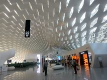 Cool Airports: Shenzhen Airport. The Shenzhen Airport in China has a cool interesting interlocking light ceiling royalty free stock photography