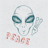 Cool alien show symbol of peace Royalty Free Stock Photo