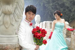 Cool asian couple,outdoors Stock Photos