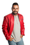 Cool attractive man in leather jacket Royalty Free Stock Photography