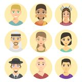 Cool avatars different nations people portraits ethnicity different skin tones ethnic affiliation and hair styles vector. Set of cool avatars different nations Royalty Free Stock Image