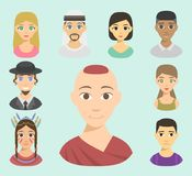 Cool avatars different nations people portraits ethnicity different skin tones ethnic affiliation and hair styles vector. Set of cool avatars different nations Stock Photography