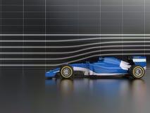 Cool błękitnej formuły bieżnego samochód w wiatrowym tunelu ilustracji