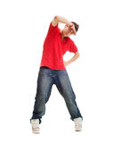 Cool b-boy. Looking at camera. isolated on white Royalty Free Stock Photography