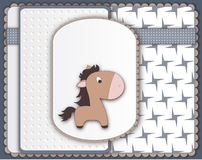 Cool baby card with pony character Royalty Free Stock Photos