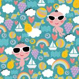 Cool baby on vacation seamless pattern. Vector texture Stock Photos