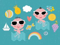 Cool baby on vacation. Stock Photo