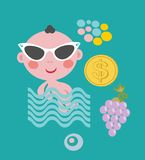 Cool baby on vacation. Vector set. Stock Image