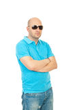 Cool bald guy with sunglasses Royalty Free Stock Images