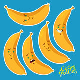 Cool banana with different emotions Royalty Free Stock Photo