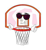Cool basketball hoop cartoon Royalty Free Stock Images