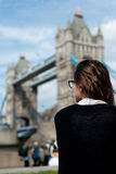 Cool Beautiful Girl Watching London Tower Bridge Royalty Free Stock Photography