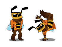 Cool bee in two variants Stock Images