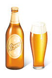 Cool beer. Bottle and glass of beer stock illustration