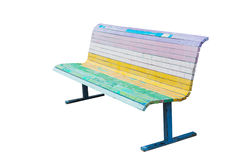 Cool Bench painted in the colors of the rainbow. Stock Photos