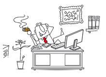 Cool big boss. The boss in his office ; he's very cool and relax Royalty Free Stock Photos