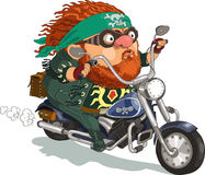 Cool biker. Funny cartoon. Vector illustration. �ool bearded biker rides a motorcycle. Isolated objects stock illustration