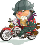 Cool biker. Funny cartoon. Vector illustration. Cool biker sitting on the motorcycle with a beer. Isolated objects vector illustration