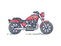 Cool biker motorcycle. Motobike chopper isolated on white background. Vector illustration Royalty Free Stock Image