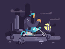 Cool biker on a motorcycle Royalty Free Stock Photos