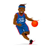 Cool black basketball player. In a blue uniform with a ball. Vector illustration on white background. Sports concept royalty free illustration