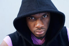 Cool black guy with hood sweatshirt Royalty Free Stock Images