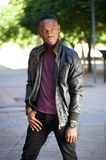 Cool black man in leather jacket Royalty Free Stock Images
