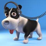 Cool black and white puppy dog wearing his favourite headphones, 3d illustration. Render royalty free illustration