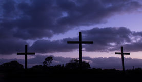Cool Blue Dawn Crosses Royalty Free Stock Photos