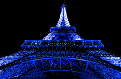 Cool Blue Eiffel Tower Stock Photo
