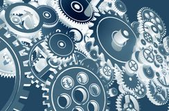 Cool Blue Gears Design. Technology Gears Background Design Royalty Free Stock Image