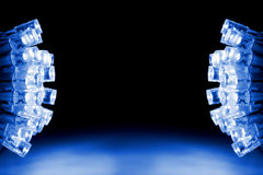 Cool blue LED lights both sides of the image. Blue LED lights both sides of the image with space for text royalty free stock image