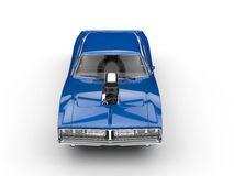 Cool blue muscle car - top view Stock Photography