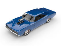Cool blue muscle car - top view Royalty Free Stock Photos