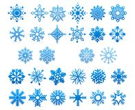 Cool blue snowflakes set. Various cool blue snowflakes set isolated on white for New Year and Christmas design stock illustration