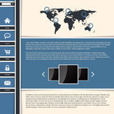 Cool blue website template design Royalty Free Stock Images