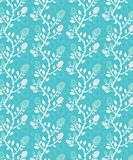 Bright blue and white seamless floral and roses pattern tile stock illustration