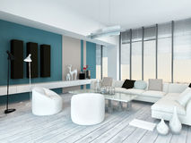Cool blue and white modern living room inyerior Royalty Free Stock Photography