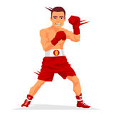 Cool boxer in the rack. Vector illustration on white background. Sports concept vector illustration
