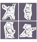 Cool boy. In four variations: dancing, thinking, showing and offering something Stock Photo